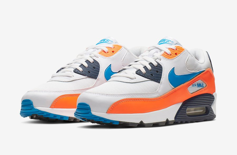 air max 90 orange blue white