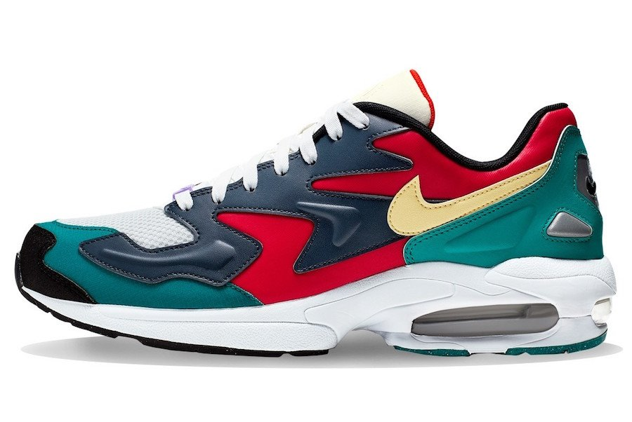 Nike Air Max2 Light Habanero Red Armory Navy Radiant Emerald BV1359-600 Release Info