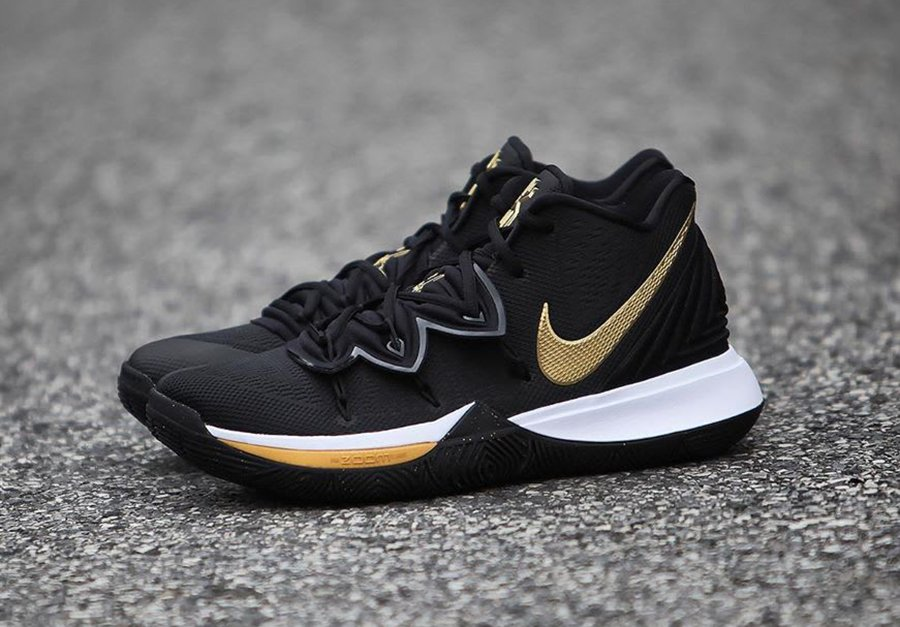 info for 6120c 959c7 Nike Kyrie 5  Black Metallic Gold