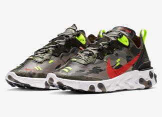 Nike React Element 87 Medium Olive Volt Crimson CJ4988-200 Release Info