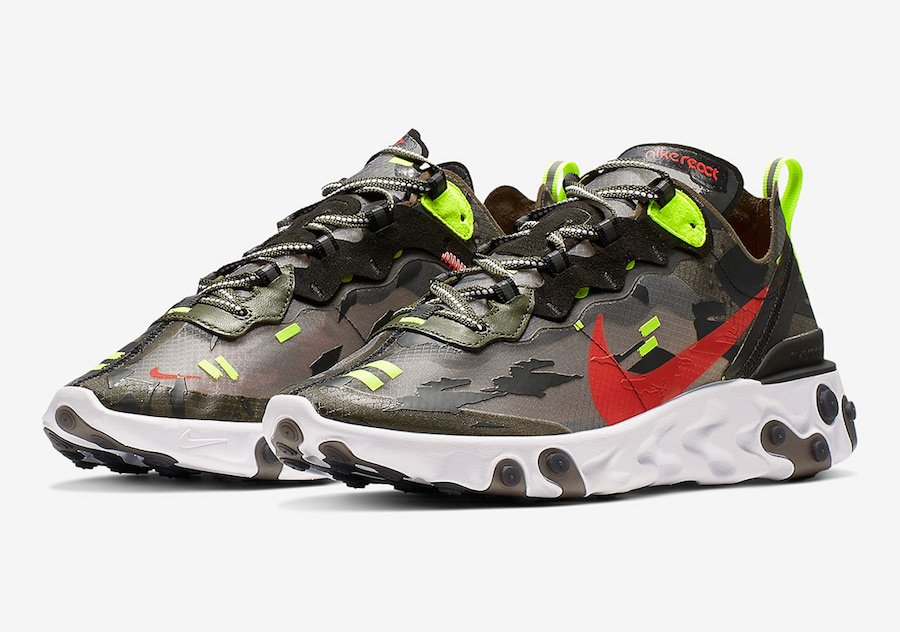 Nike React Element 87 Medium Olive Volt Crimson CJ4988-200 Release Info
