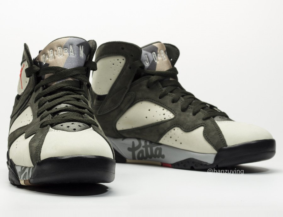 Patta Air Jordan 7 Icicle Sequoia River Rock Light Crimson AT3375-100 Release Info