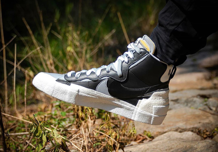 Sacai Nike Blazer Mid Black Grey White BV0062-002 On Feet Release Date