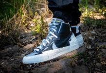 Sacai Nike Blazer Mid Black Grey White BV0062-002 On Feet Release Date