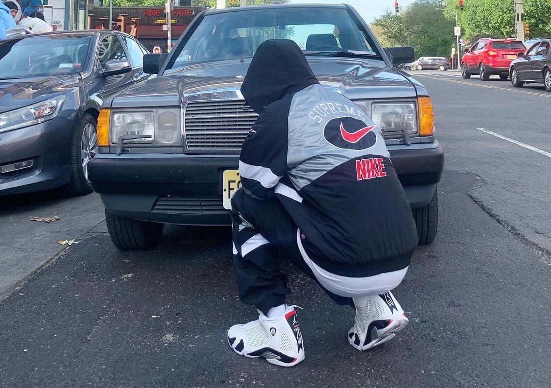 Supreme Air Jordan 14 On Feet
