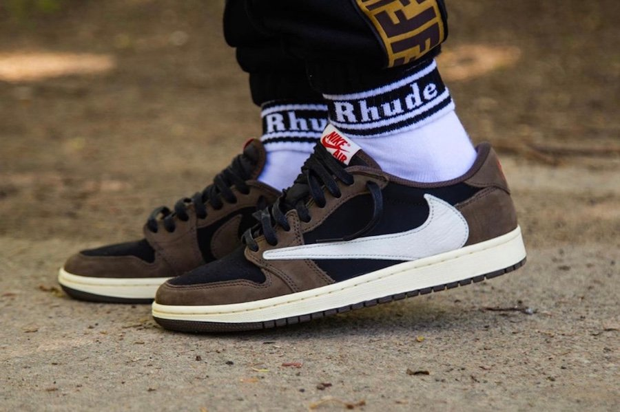 Travis Scott Air Jordan 1 Low CQ4277-001 On Feet