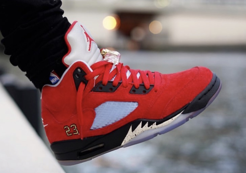 c8009b1eb43 Trophy Room Air Jordan 5 Ice Blue University Red Release Info ...