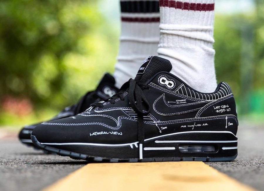 Nike Air Max 1 Tinker Black Schematic Sketch to Shelf CJ4286-001 On Feet Release Date