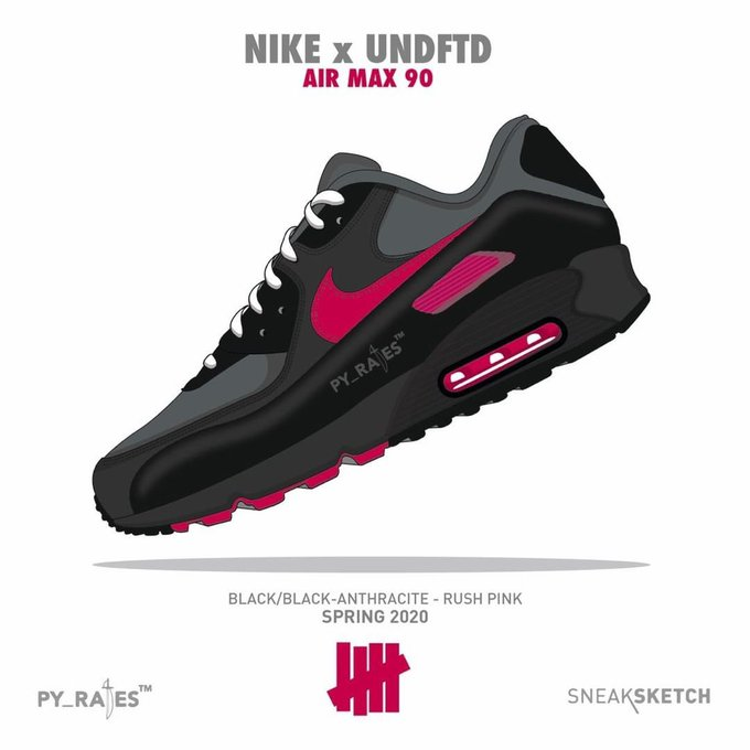 Undefeated Nike Air Max 90 Black Anthracite Rush Pink Release Date Info