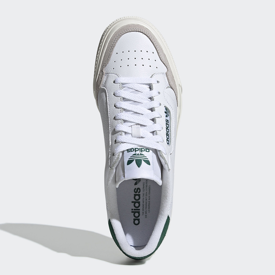 adidas Continental Vulc White Green EF3534 Release Date Info