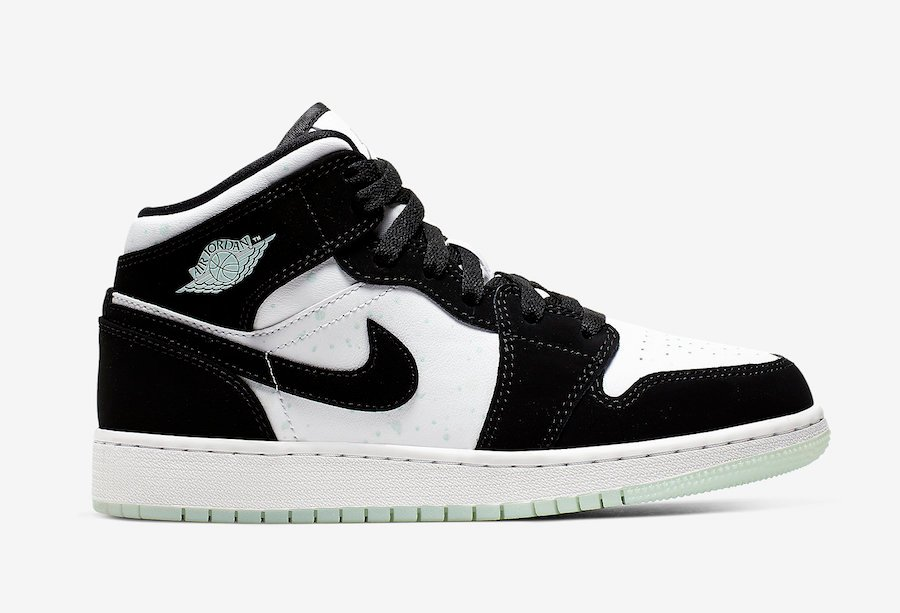Air Jordan 1 Mid GS Panda White Black Teal Tint BQ6931 103