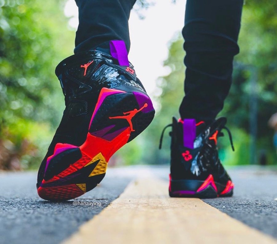Air Jordan 7 Black Patent Leather 313358-006 On Feet