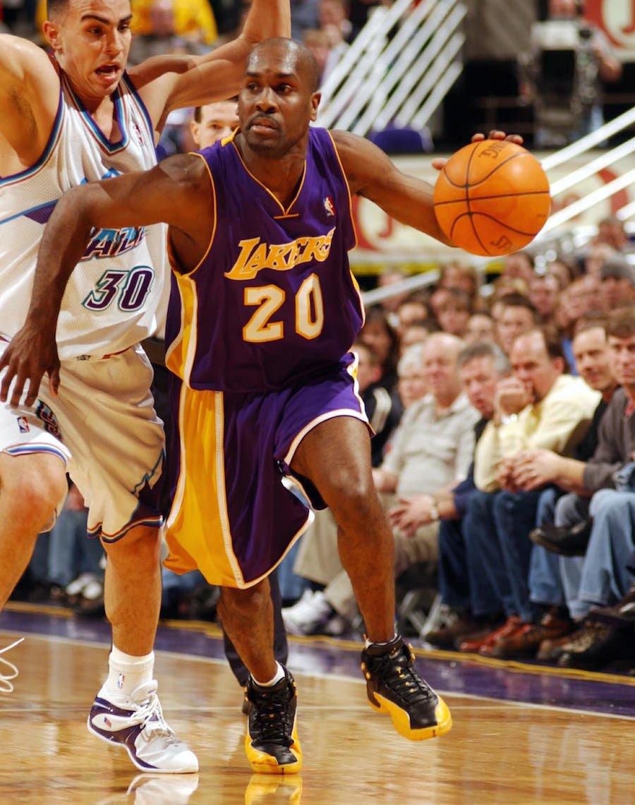 Gary Payton Air Jordan 12 Lakers PE Away