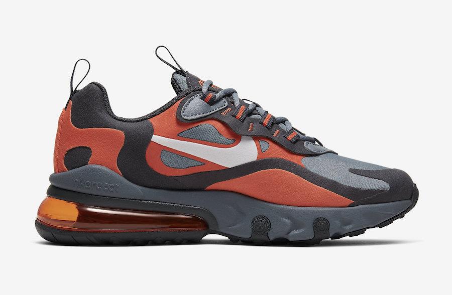 air max 270 react grey and orange
