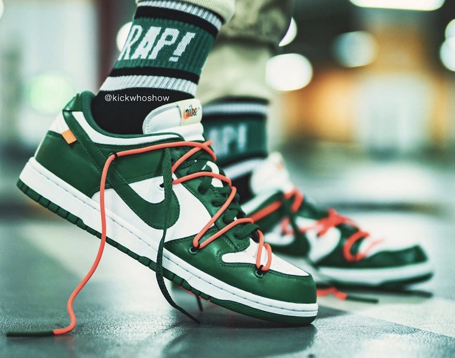 Off-White Nike Dunk Low Pine Green CT0856-100 On Feet Release Date