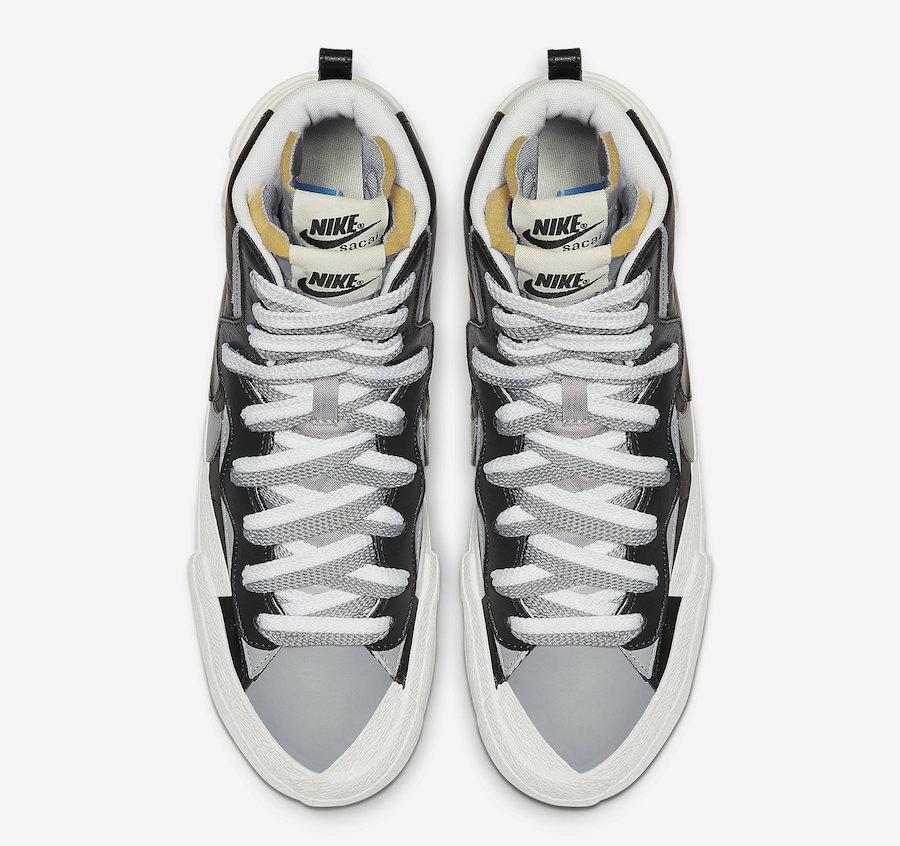 Sacai Nike Blazer Mid Black Wolf Grey BV0072-002 Release Date Info