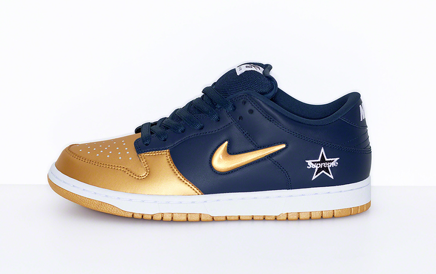Supreme Nike SB Dunk Low Metallic Gold Navy CK3480-700 Release Date