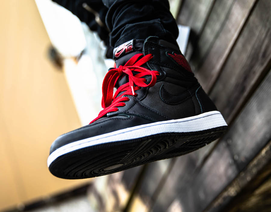 Air Jordan 1 Black Satin 555088-060 On Feet