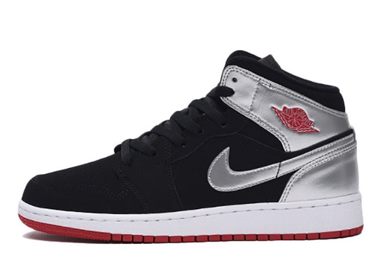Air Jordan 1 Mid GS Black Silver Gym Red 554725-057 ...Jordan 9 Black And Red And Silver
