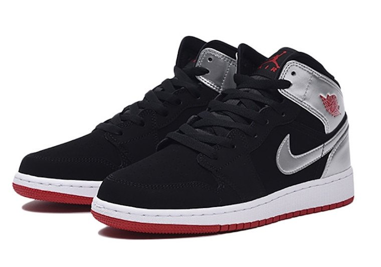 Air Jordan 1 Mid GS Black Silver Gym Red 554725-057 Release Date Info