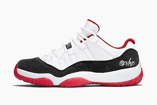 Air Jordan 11 Low Suede White University Red Black True Red Release Date
