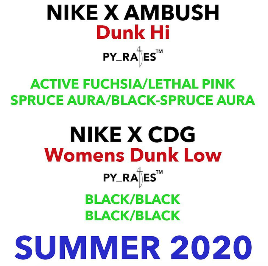 Ambush and CDG Releasing Nike Dunk Collaborations in 2020