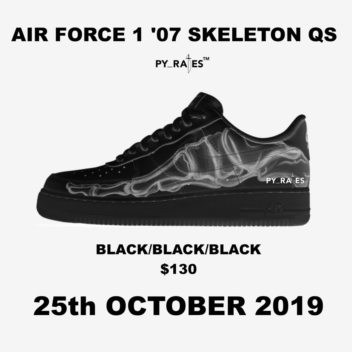 Nike Air Force 1 Low Black Skeleton Release Date Info