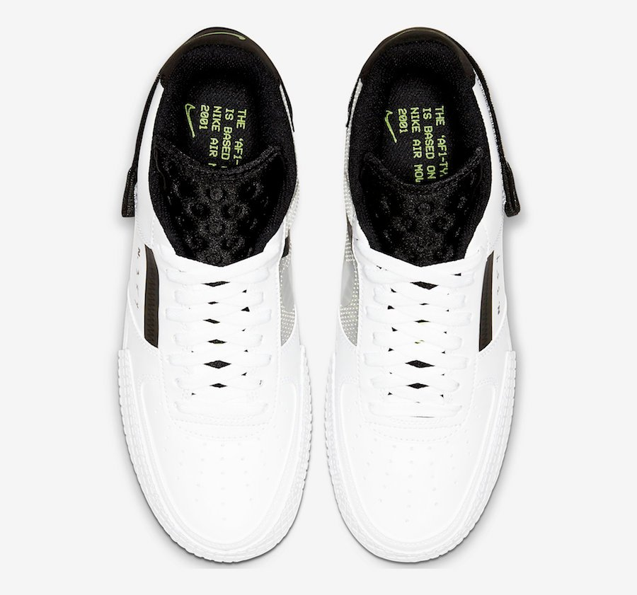 Nike Air Force 1 Type in White, Black and Volt | Getswooshed