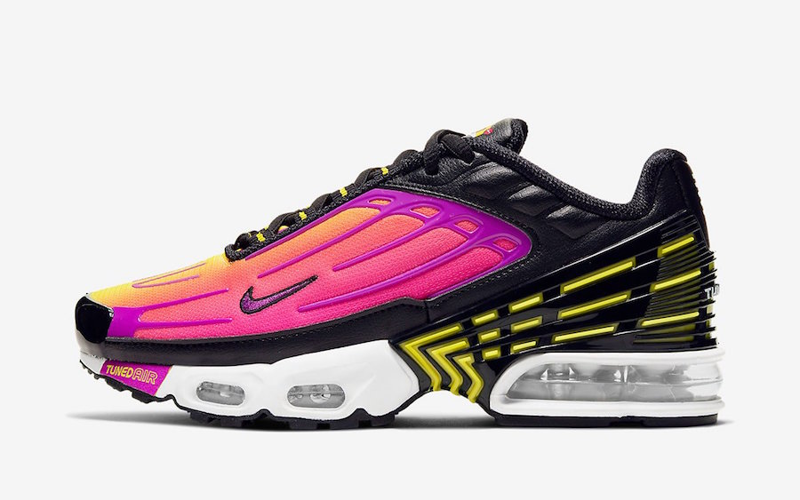 Nike Air Max Plus 3 Black Hyper Purple Optic Yellow CD6871-005 Release Date Info