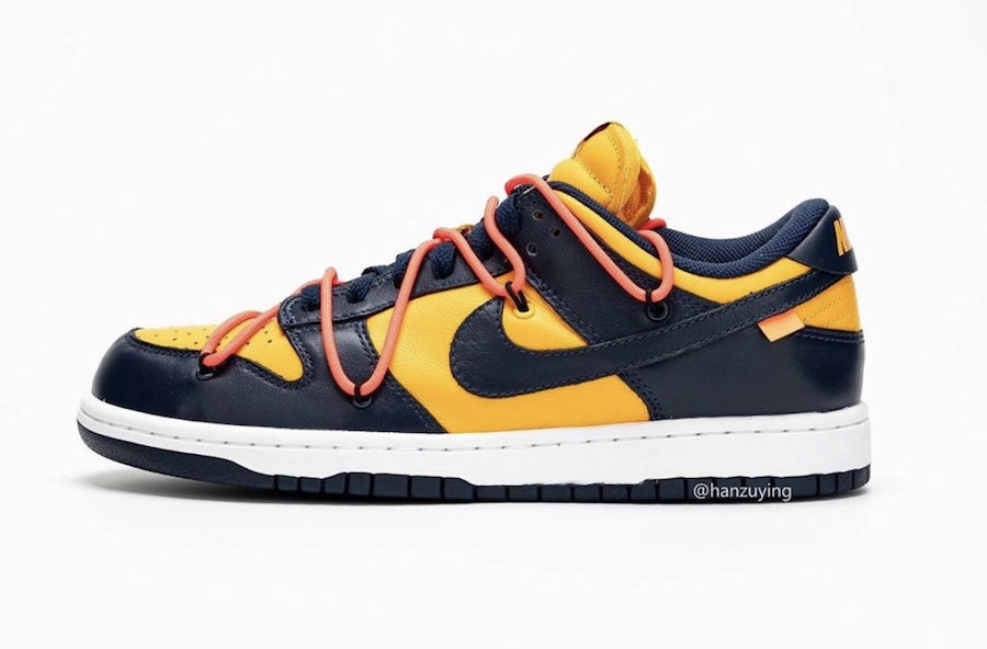 Off-White Nike Dunk Low University Gold Navy CT0856-700 Release Info