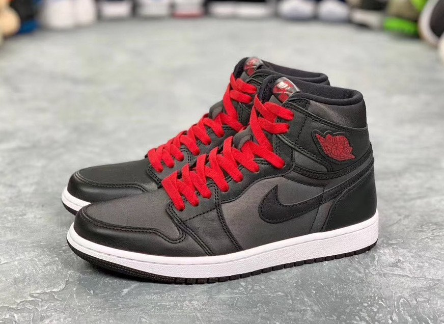 Air Jordan 1 Black Satin Gym Red 555088-060 2020 Release