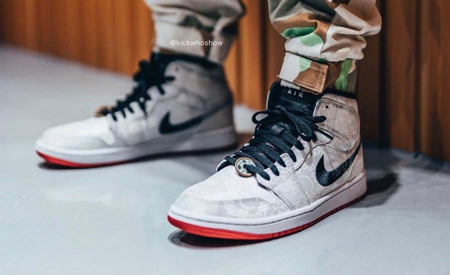 CLOT Air Jordan 1 Mid Fearless CU2804-100 On Feet