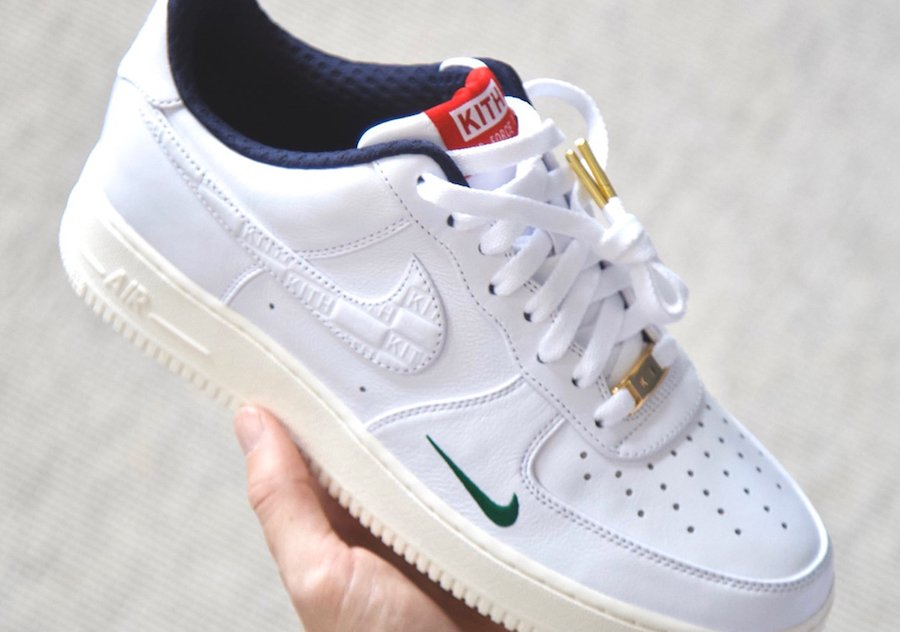 Kith Nike Air Force 1 White University Red Gold Release Date