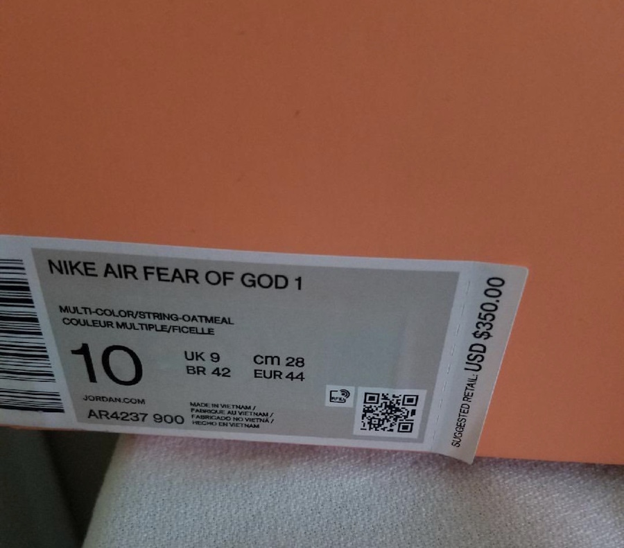 Nike Air Fear of God 1 Oatmeal AR4237-900 Release Date Info