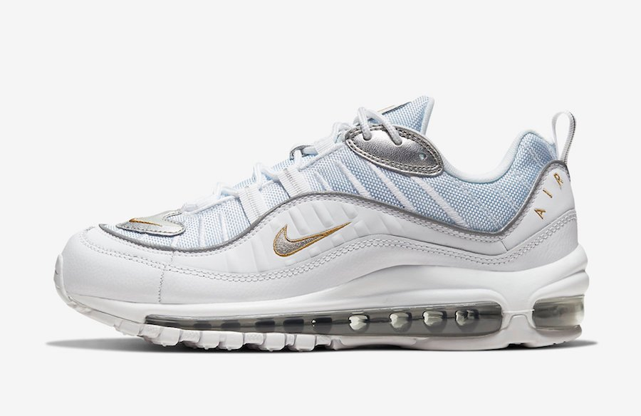 Nike Air Max 98 White Gold Silver CT2547-100 Release Date Info