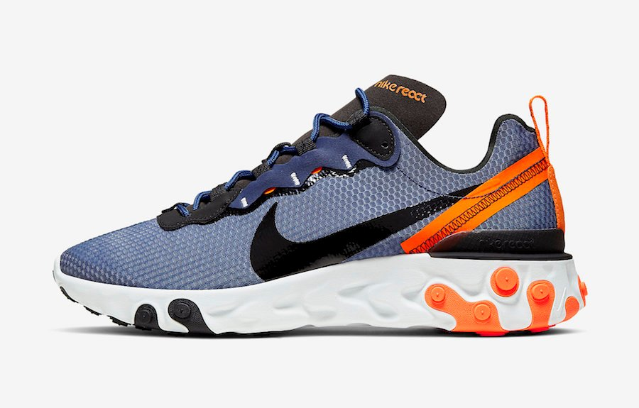 Nike React Element 55 Midnight Navy Total Orange CI3831-400 Release Date Info