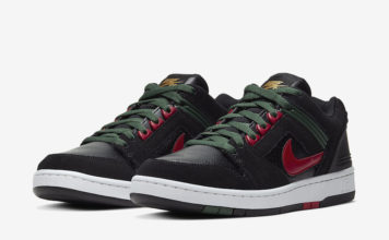 Nike SB Air Force 2 Low Black Deep Forest Gym Red AO0300-002 Release Date Info