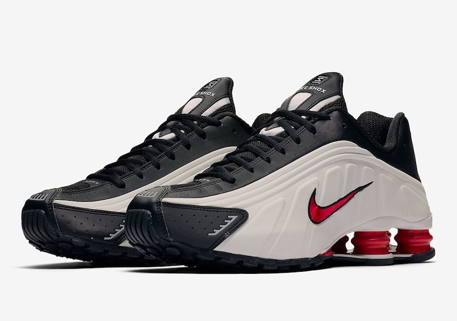 Nike Shox R4 in Platinum Tint and University Red
