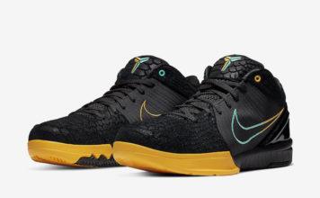 Nike Zoom Kobe 4 Protro Black Snake Aurora Green University Gold AV6339-002 Release Date Info