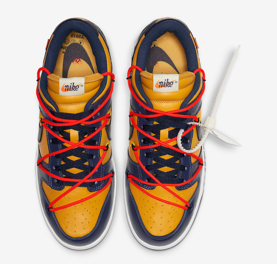 Off-White Nike Dunk Low Gold Navy CT0856-700 Release Date Info