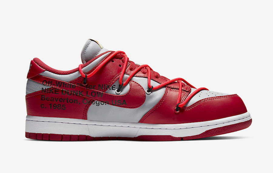 Off-White Nike Dunk Low Red Grey CT0856-600 Release Date Info