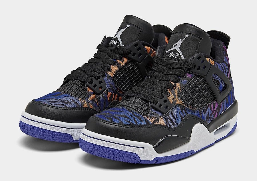 Tiger Camo Air Jordan 4 GS Rush Violet Racer Blue BQ9043-005