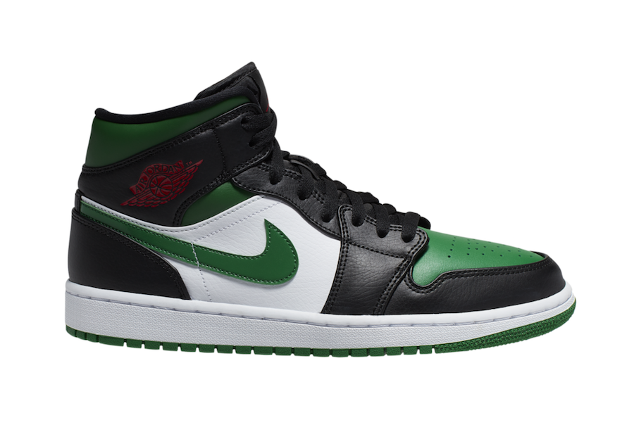Air Jordan 1 Mid Black Green White Red 554724-067 Release Date Info