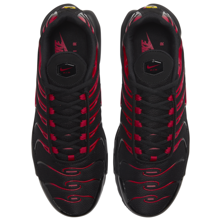 Nike Air Max Plus Available In Black And University Red Getswooshed