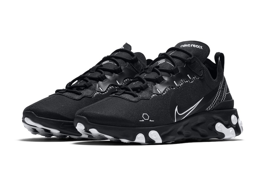 Nike React Element 55 Black Schematic Release Date Info