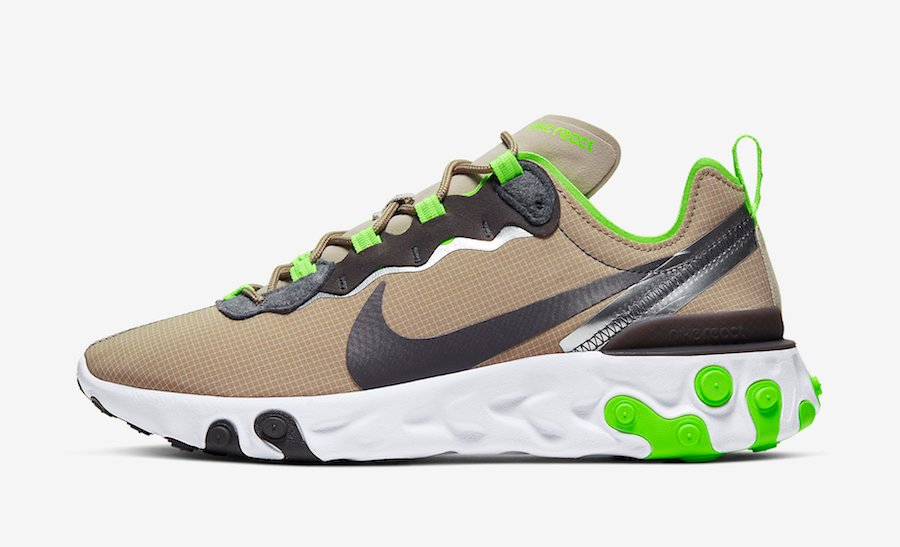 Nike React Element 55 Khaki Lime Green CQ4600-201 Release Date Info