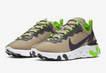 Nike React Element 55 Khaki Lime Green CQ4600-201 Release Date Info