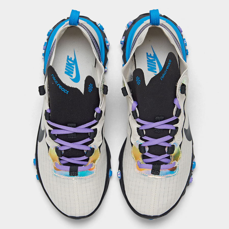 Nike React Element 55 Off Noir Blue Hero Amethyst Tint CT1612-001 Release Date Info