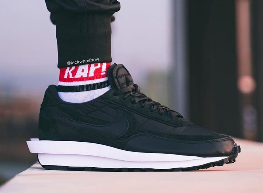 sacai Nike LDWaffle Black Nylon Suede On Feet