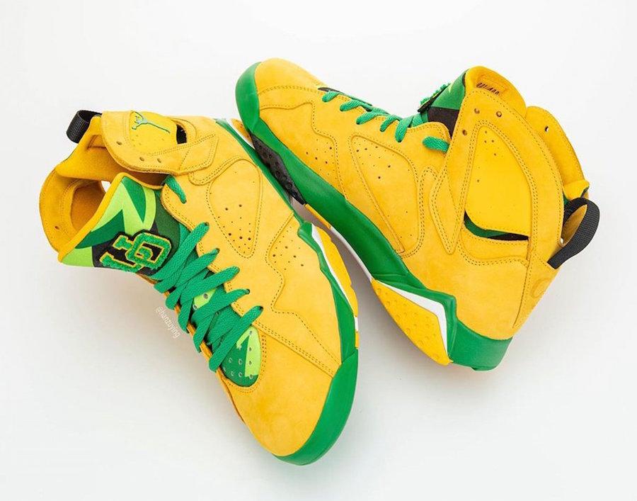 Air Jordan 7 Oregon Ducks Yellow Green
